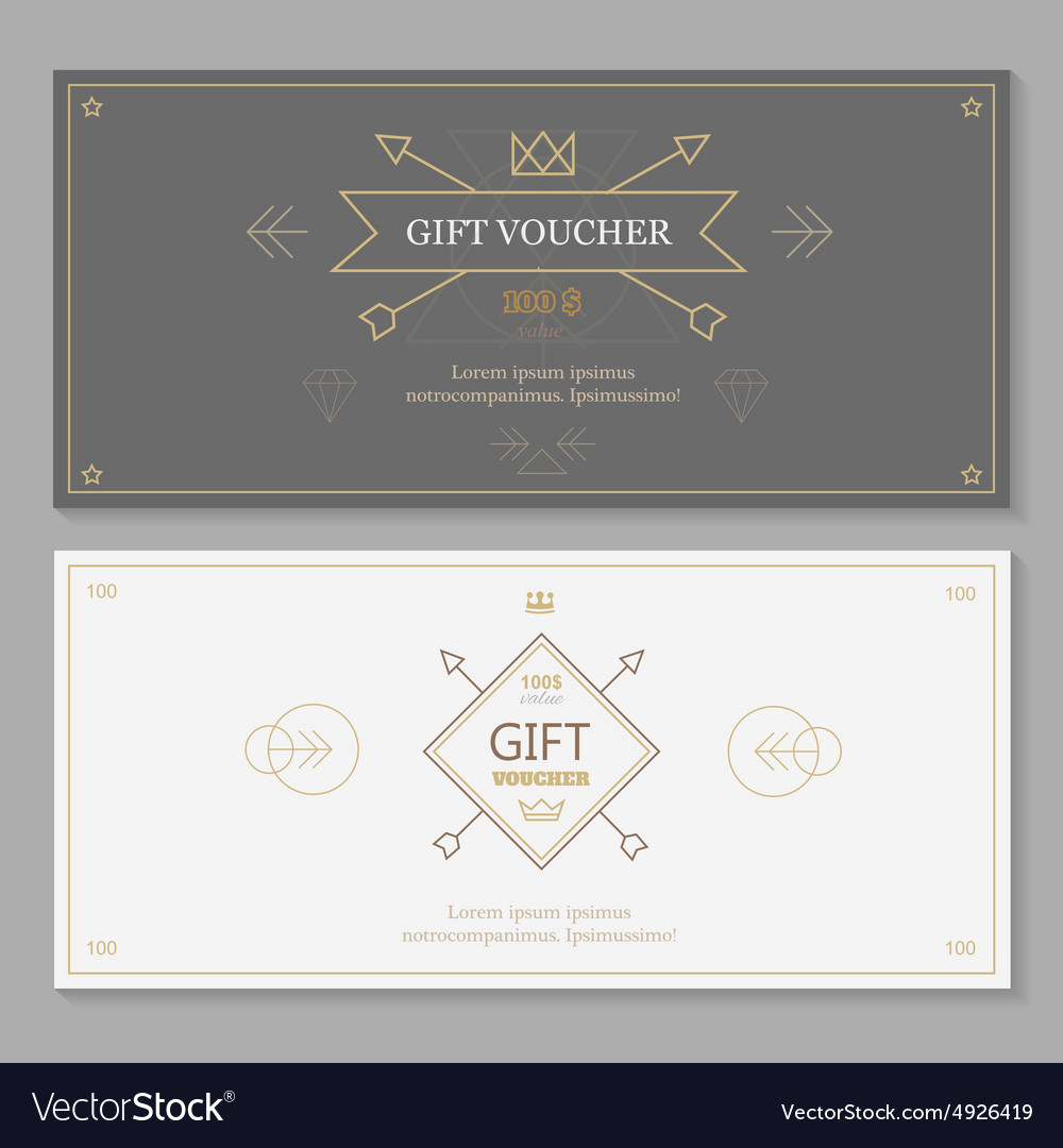 Gift voucher template with hipster design line vector image gift voucher template with hipster design line vector image xflitez Images