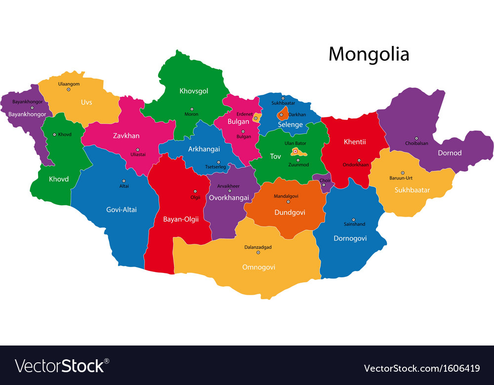Mongolia Map Royalty Free Vector Image VectorStock - Mongolia map vector