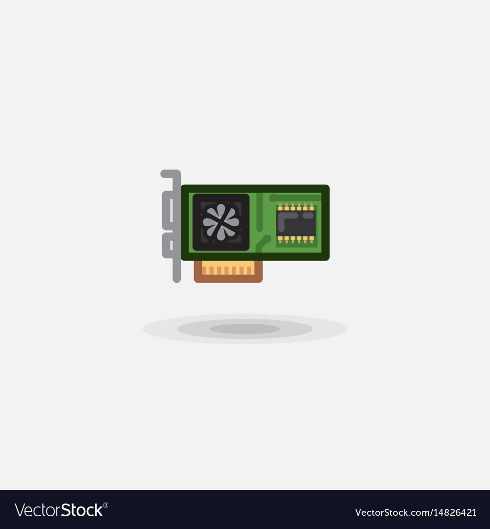 Icon computer board video card sound card vector image
