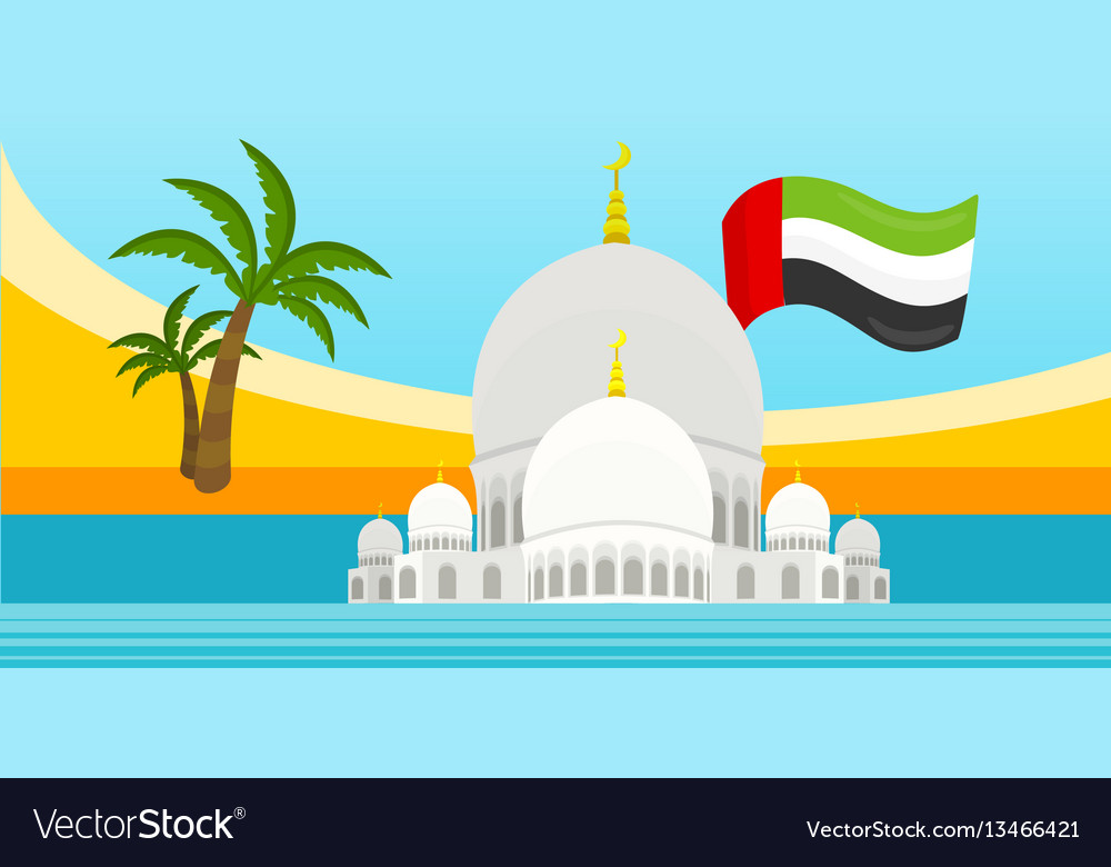 United arab emirates travelling banner mosque vector image