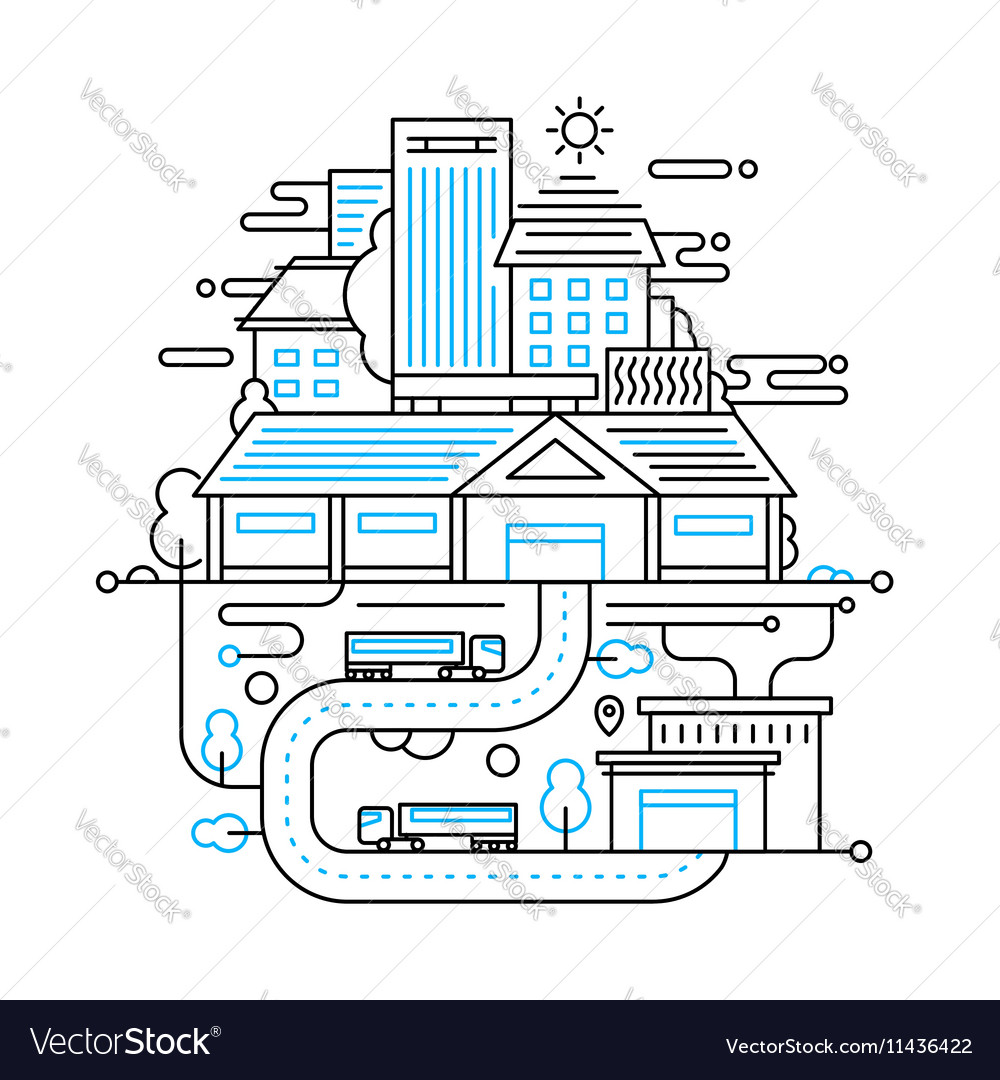 Cityscape and city life - line design composition vector image