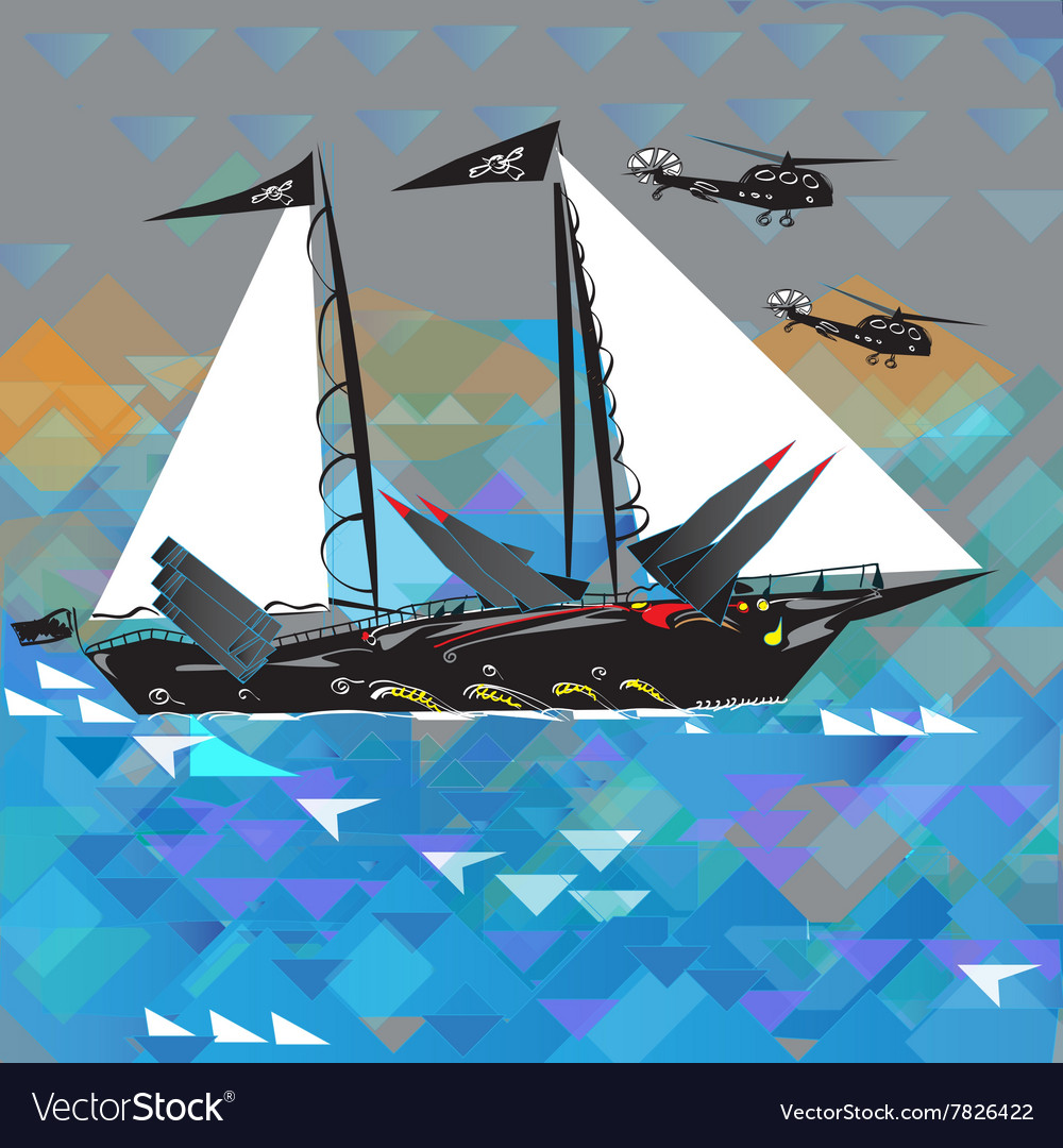 Funny Military Ship vector image