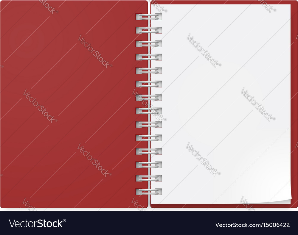 Realistic notebook on white background design vector image
