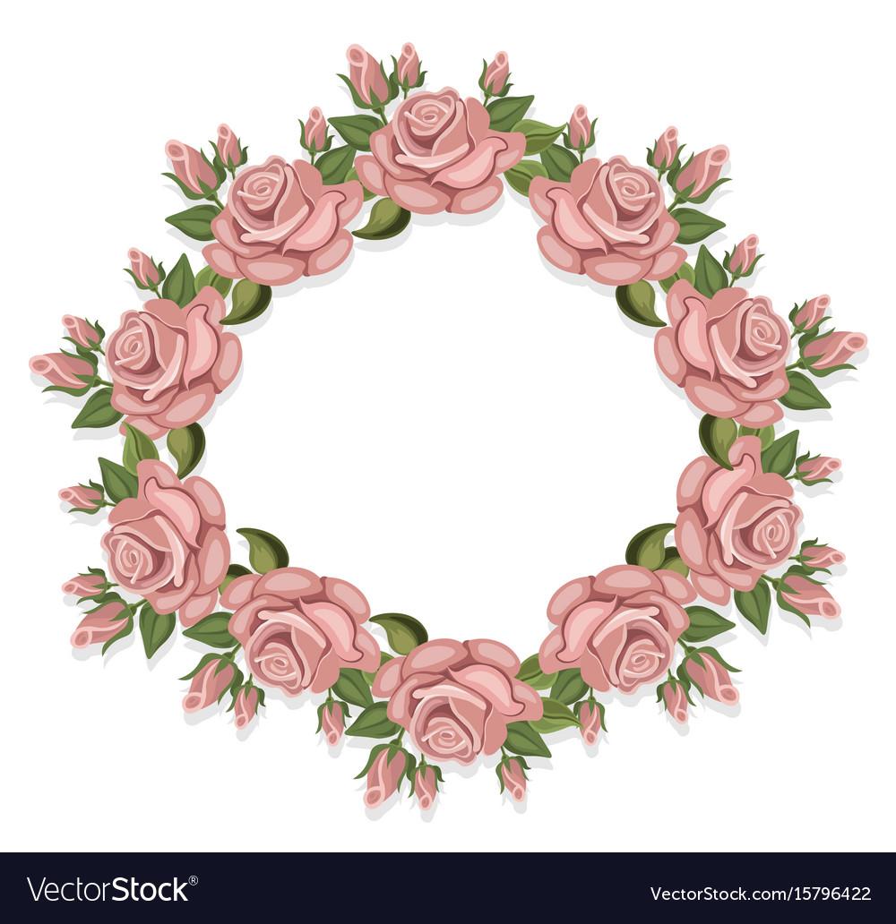 Vintage roses floral crown summer roses vector image