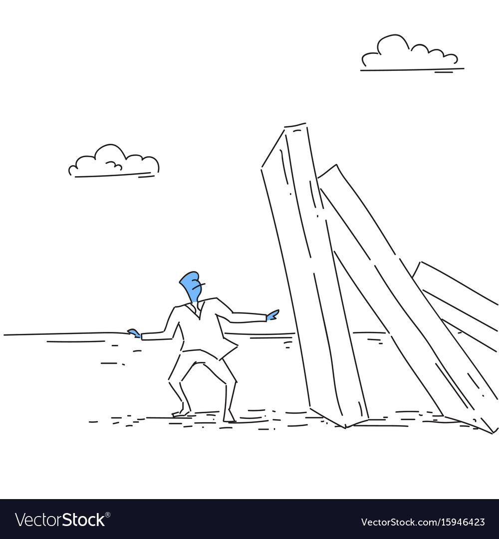 Business man standing at chart bar falling vector image