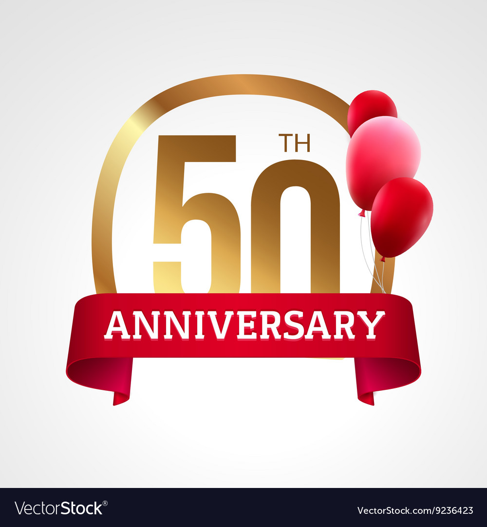 Celebrating 50th years anniversary golden label vector image