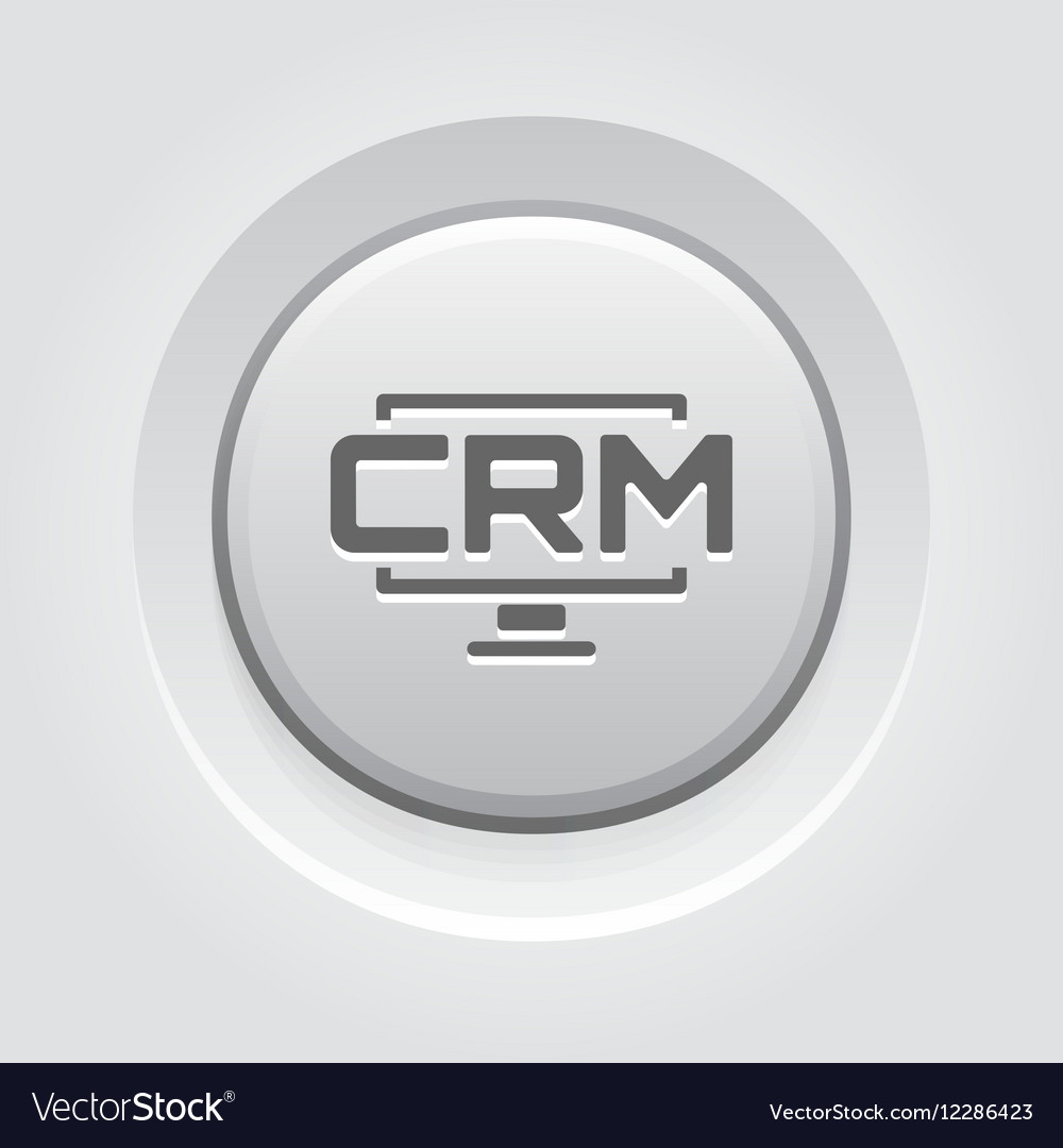 Desktop CRM System Icon Grey Button Design vector image