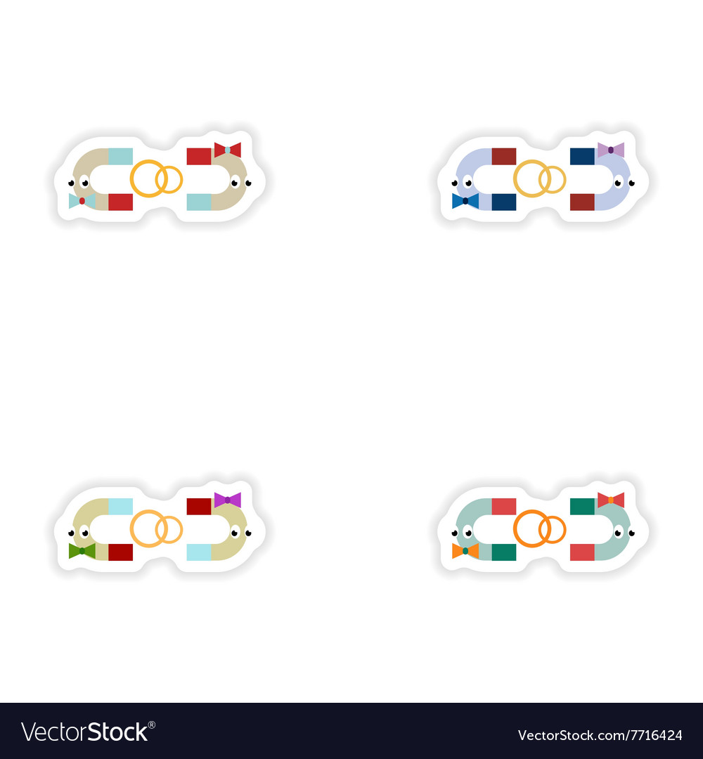 Set of paper stickers on white background romantic