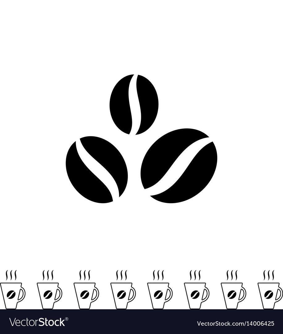 Coffee beans black icon vector image