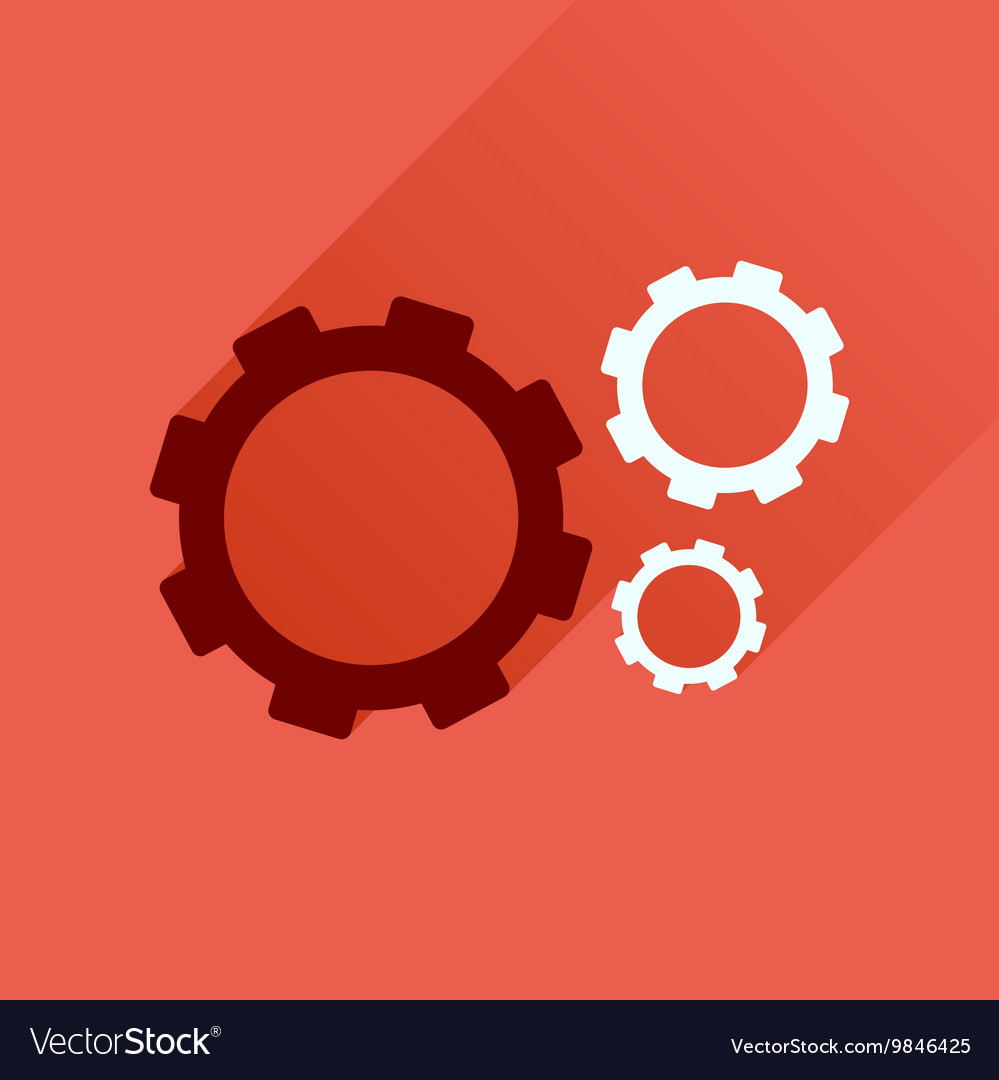 gear flat icon gear with long shadow
