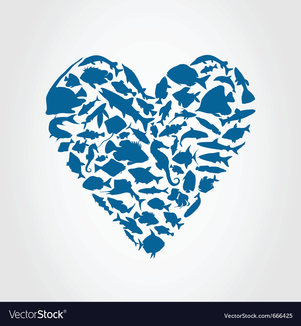Heart of fishes vector image