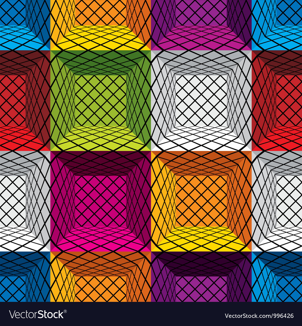 3d boxes seamless pattern vector image