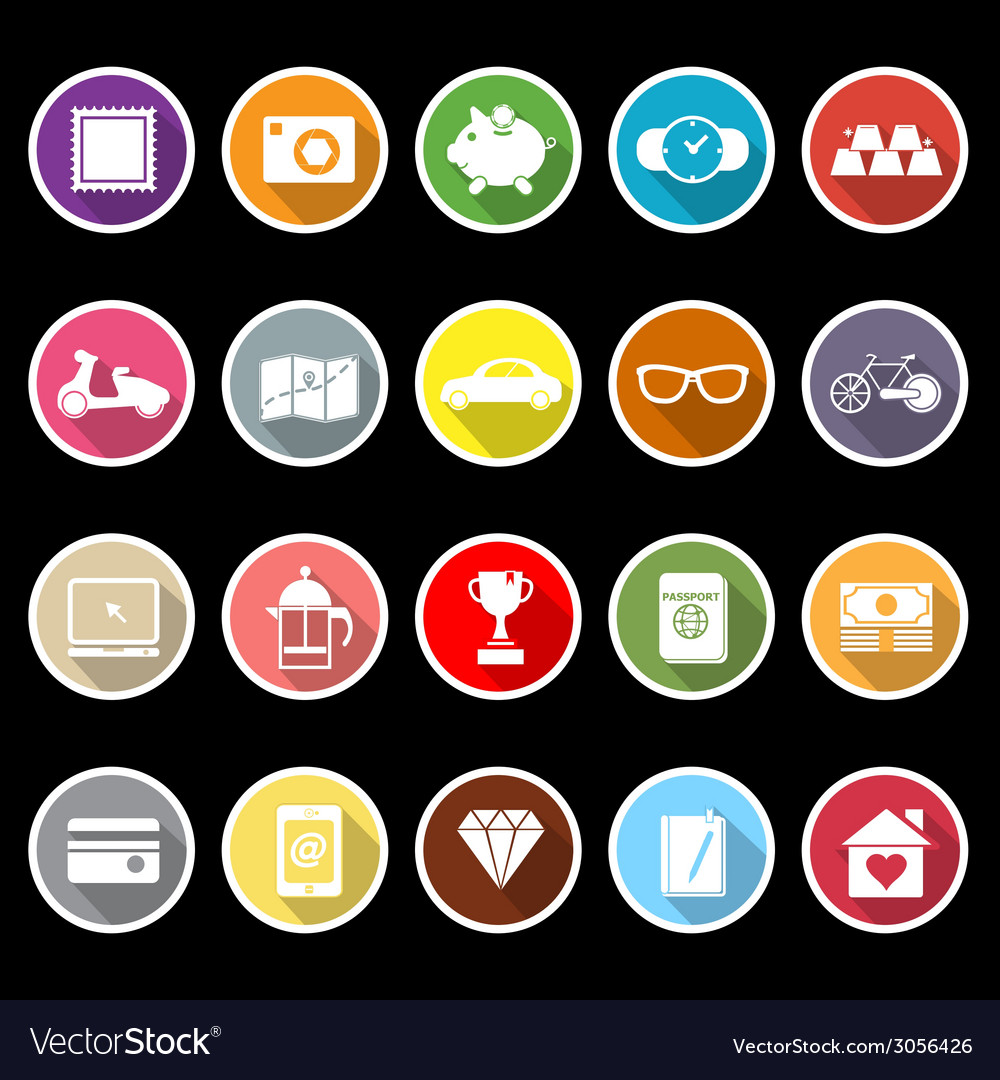 The useful collection icons with long shadow vector image