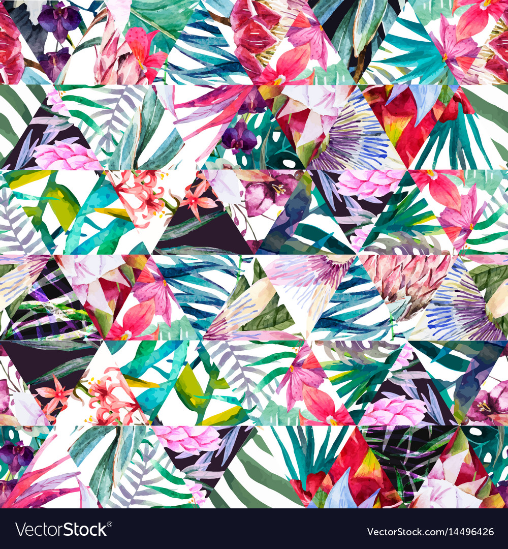 Tropical watercolor pattern vector image