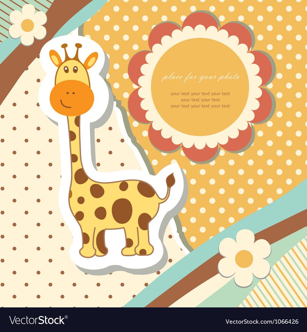Vintage baby giraffe vector image