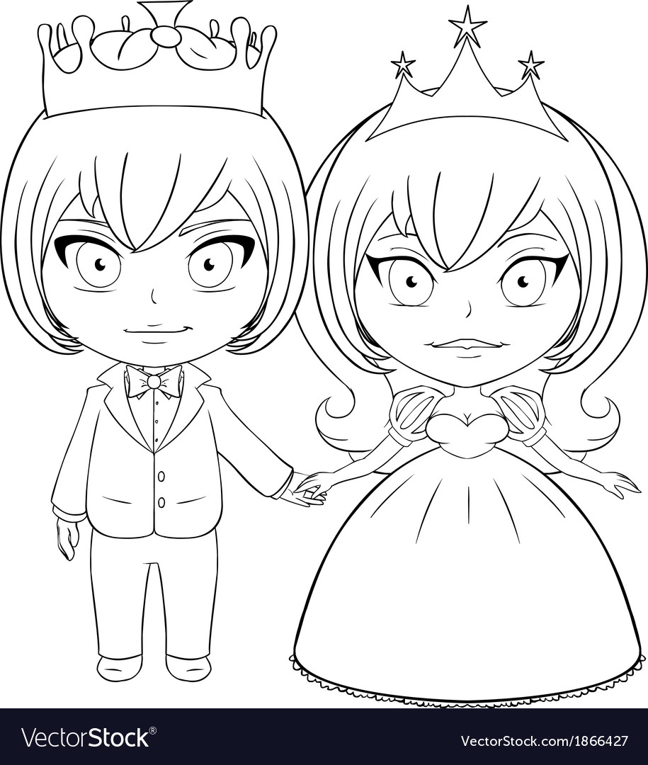 prince and princess coloring page 2 royalty free vector