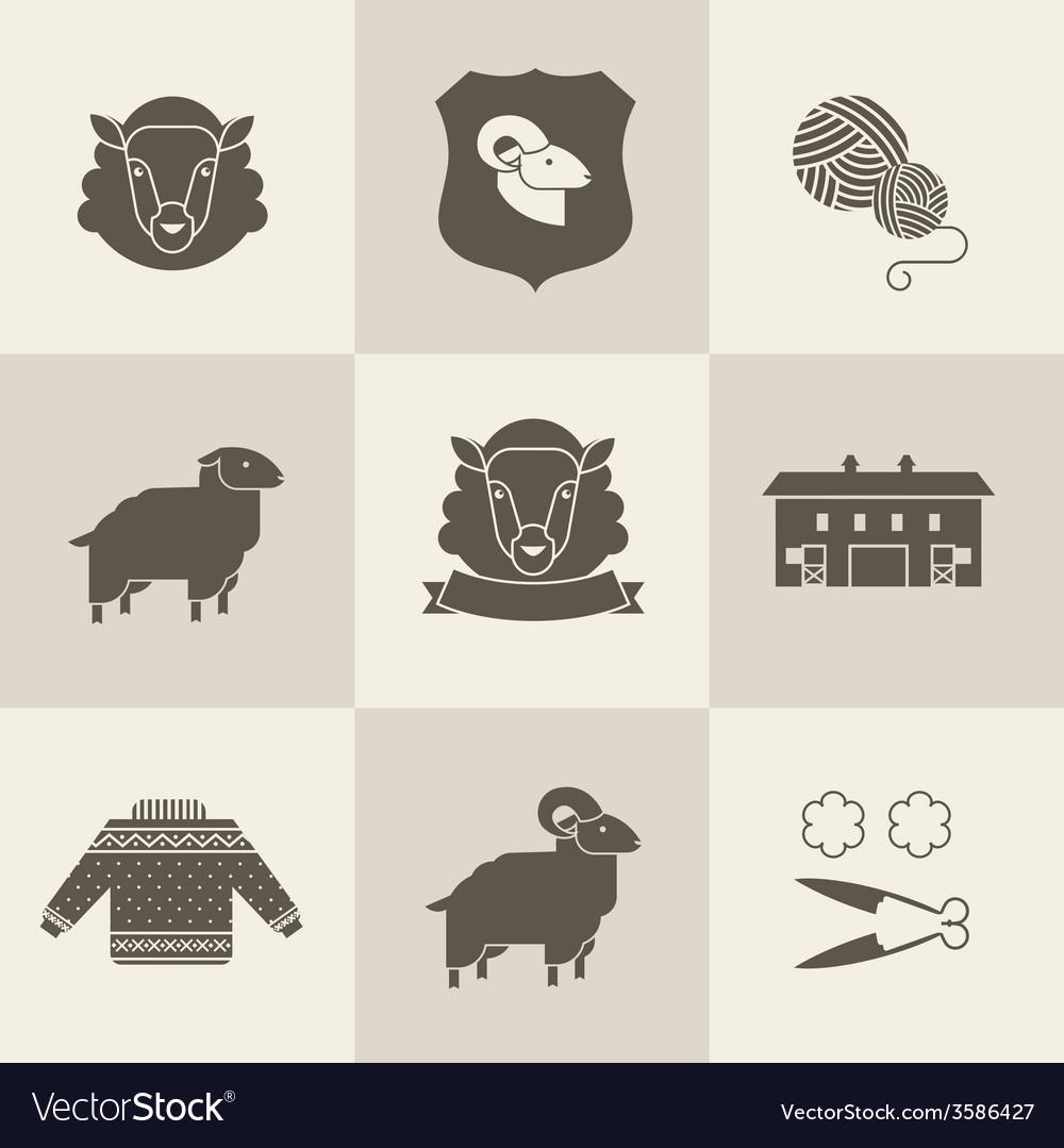 Sheep set vector image