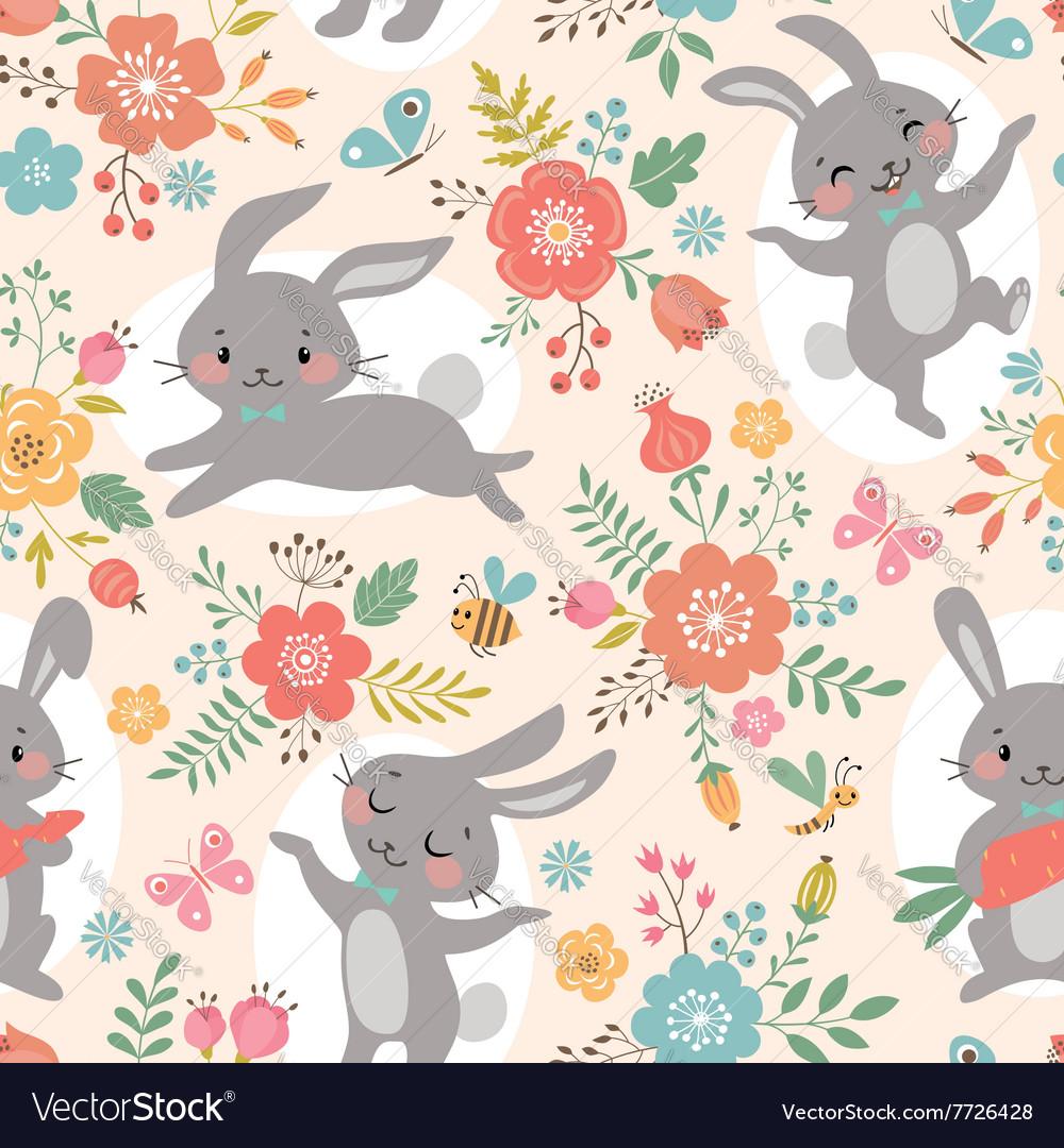 Spring rabbits pattern vector image