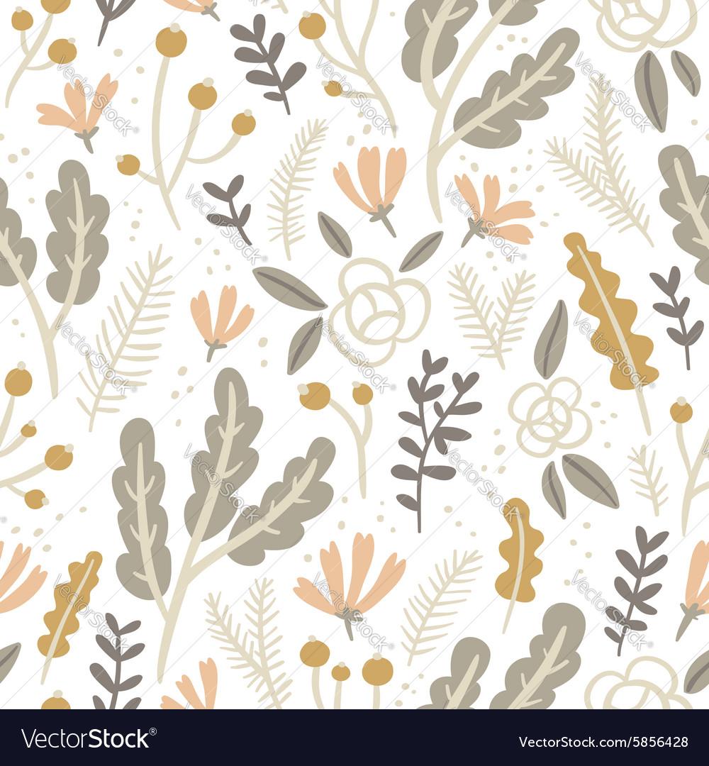Flowers leaves and berries pastel seamless pattern vector image