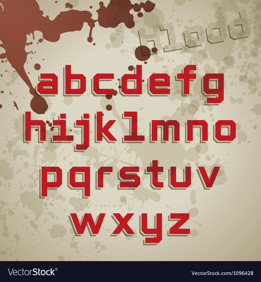 Grunge font lowercase characters vector image