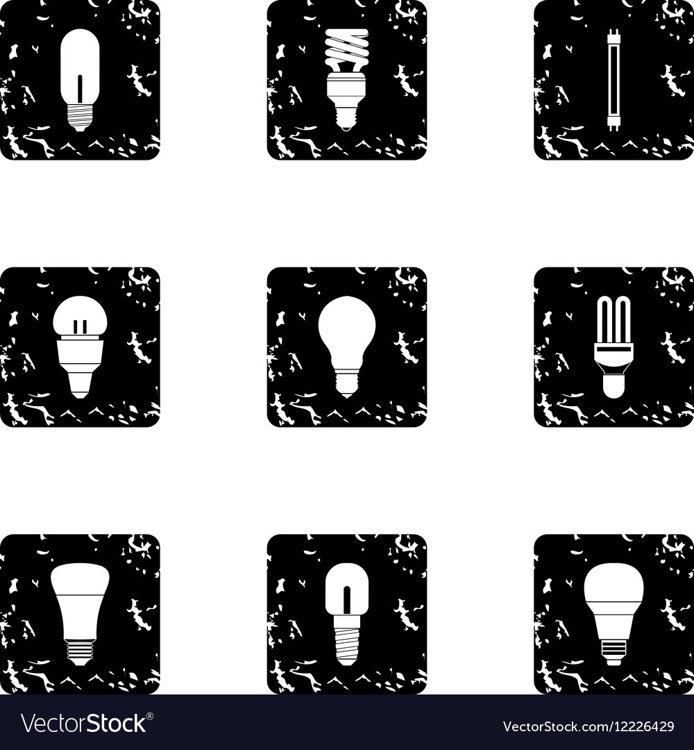 Lamp for home icons set grunge style vector image