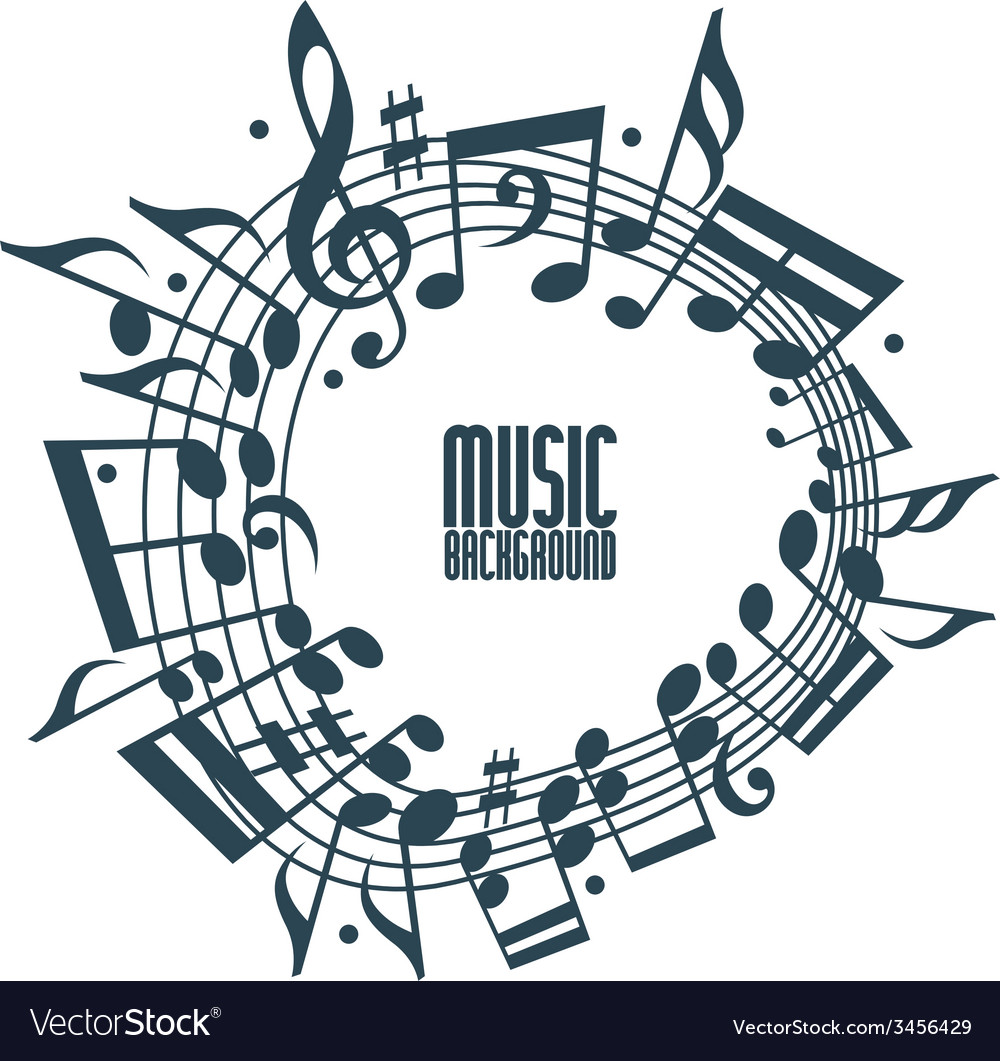 Simple single color music background with notes vector image