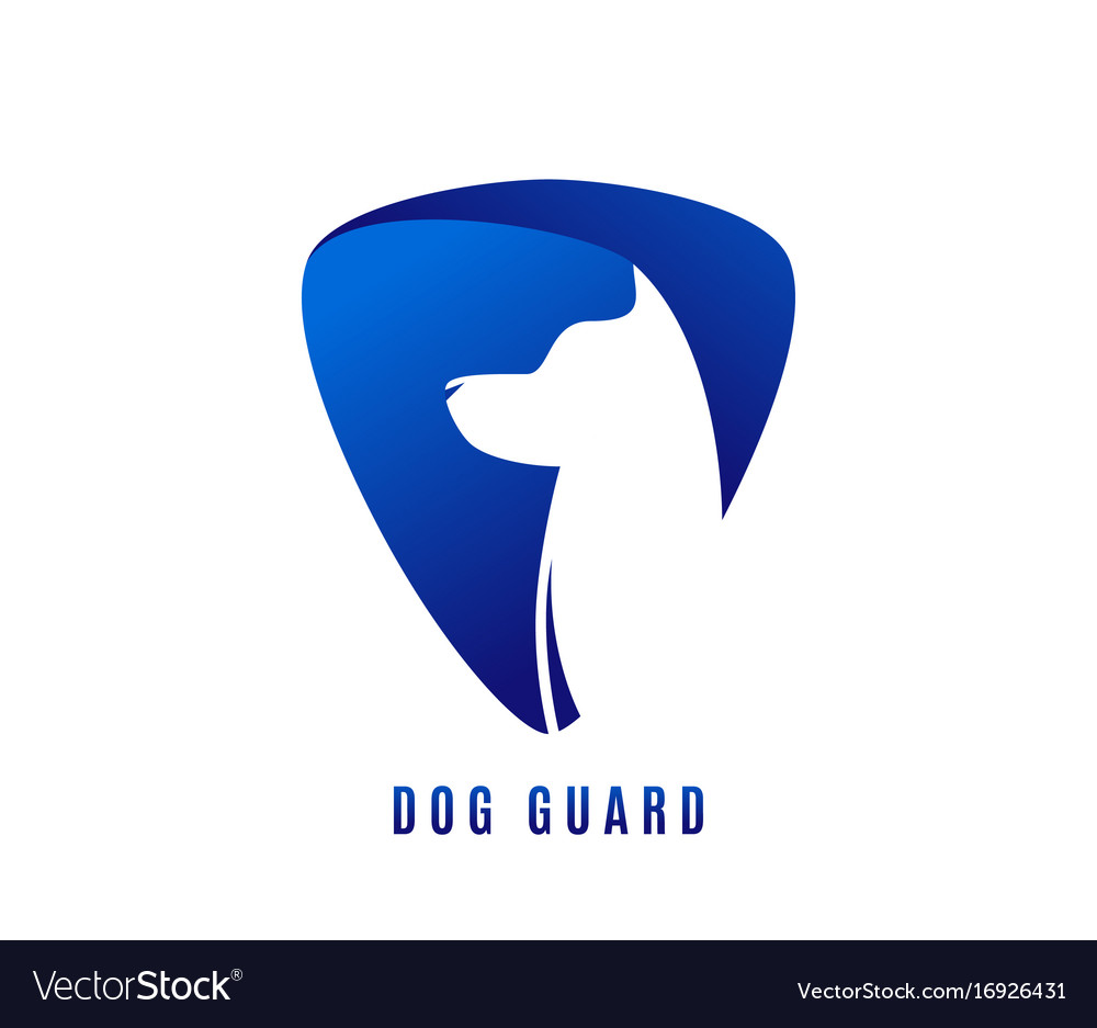 Dog guard logo with doggy vector image