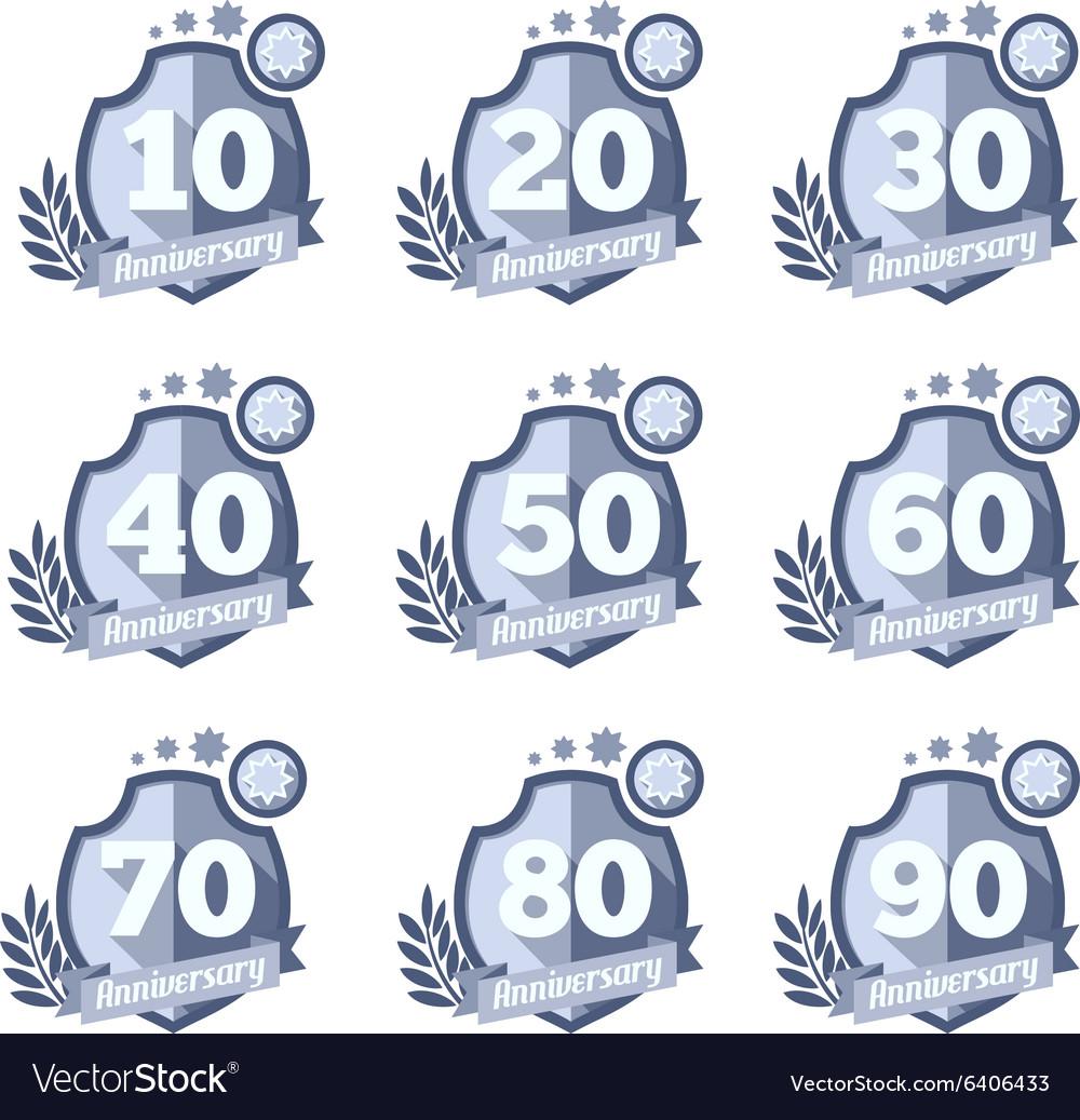 Anniversary emblems set Celebration icons vector image