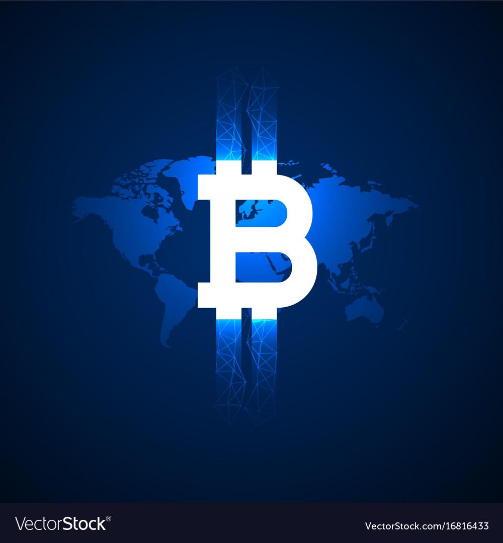 Digital bitcoin symbol above world map background vector image