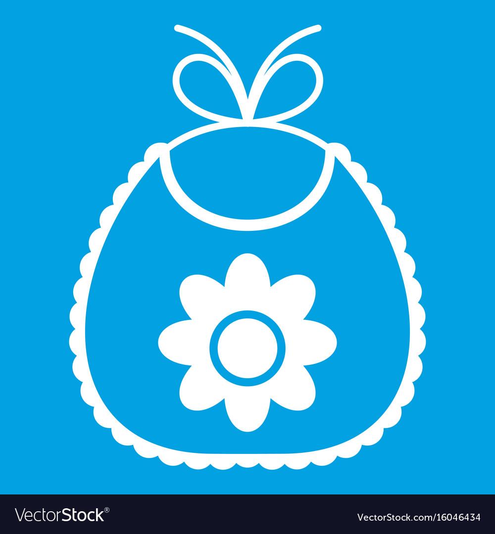 Baby bib icon white vector image