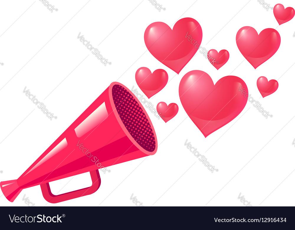 Megaphone love vector image