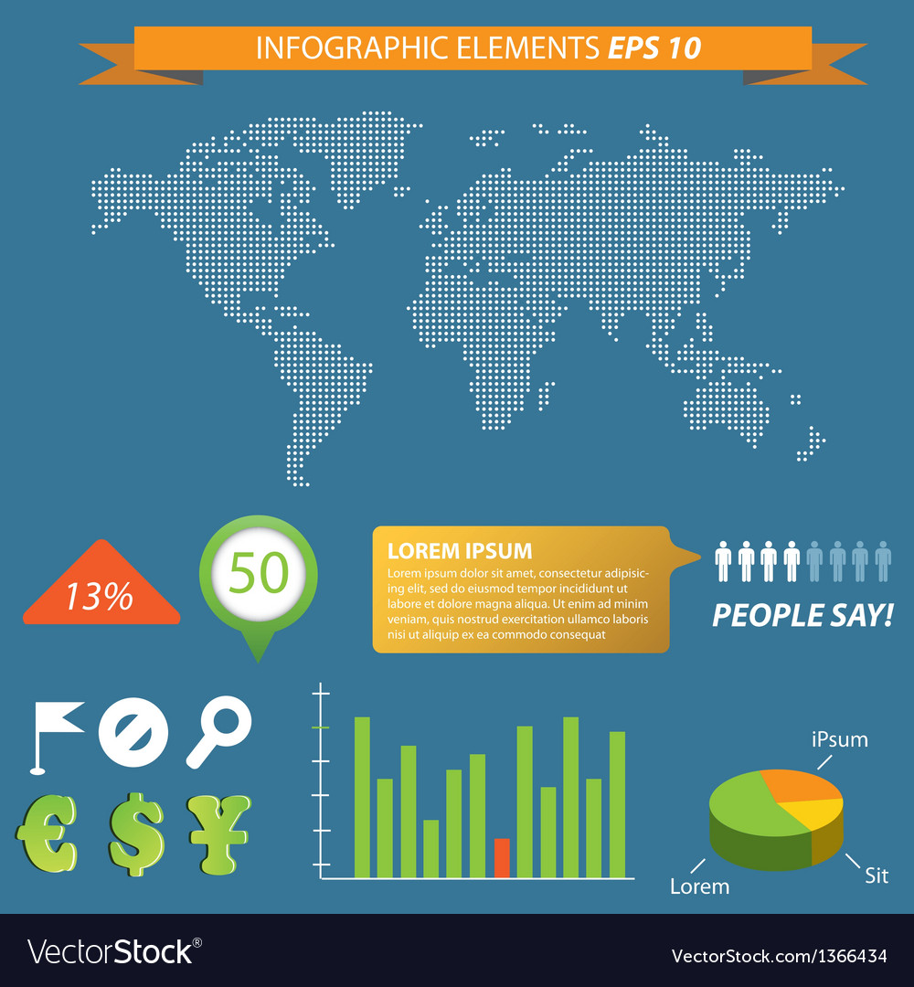 Modern infographic with Map vector image