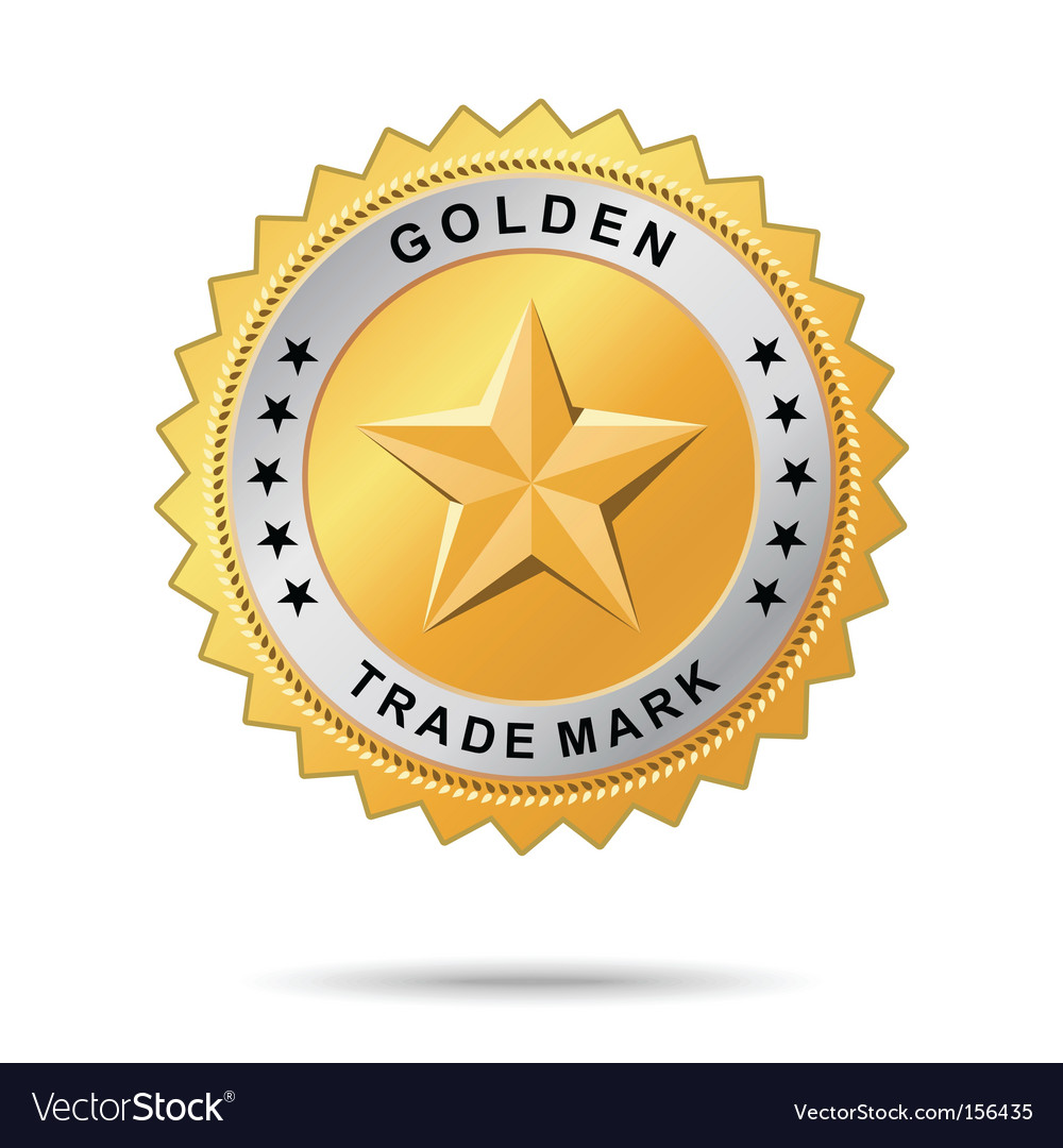 Golden trade mark label vector image