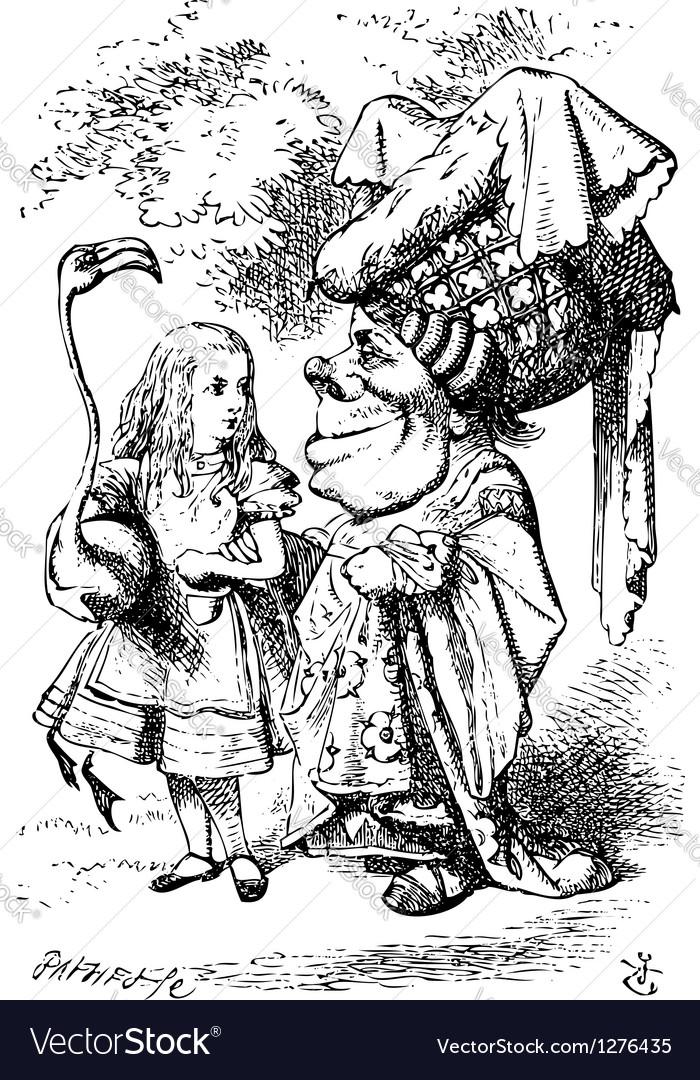 Alice with flamingo vector image