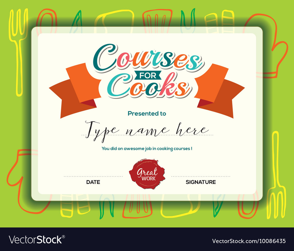 Kids cooking courses certificate design template vector image kids cooking courses certificate design template vector image xflitez Images