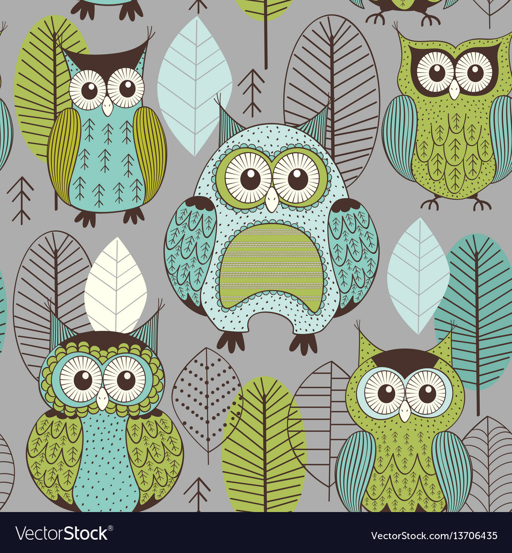 Seamless pattern with cute color owls vector image