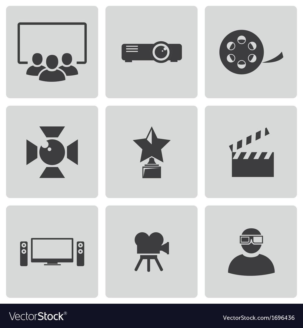 Black movie icons set vector image
