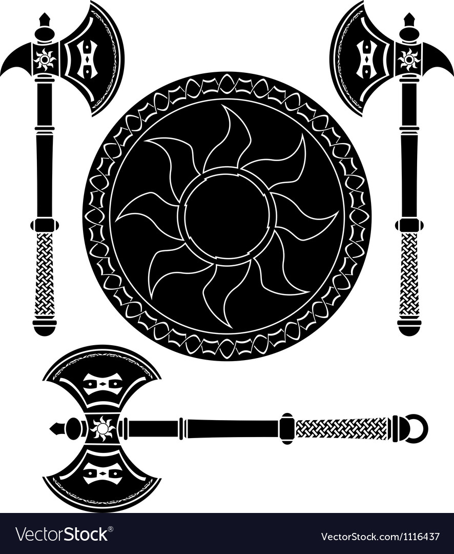 Fantasy shield and swords of vikings vector image