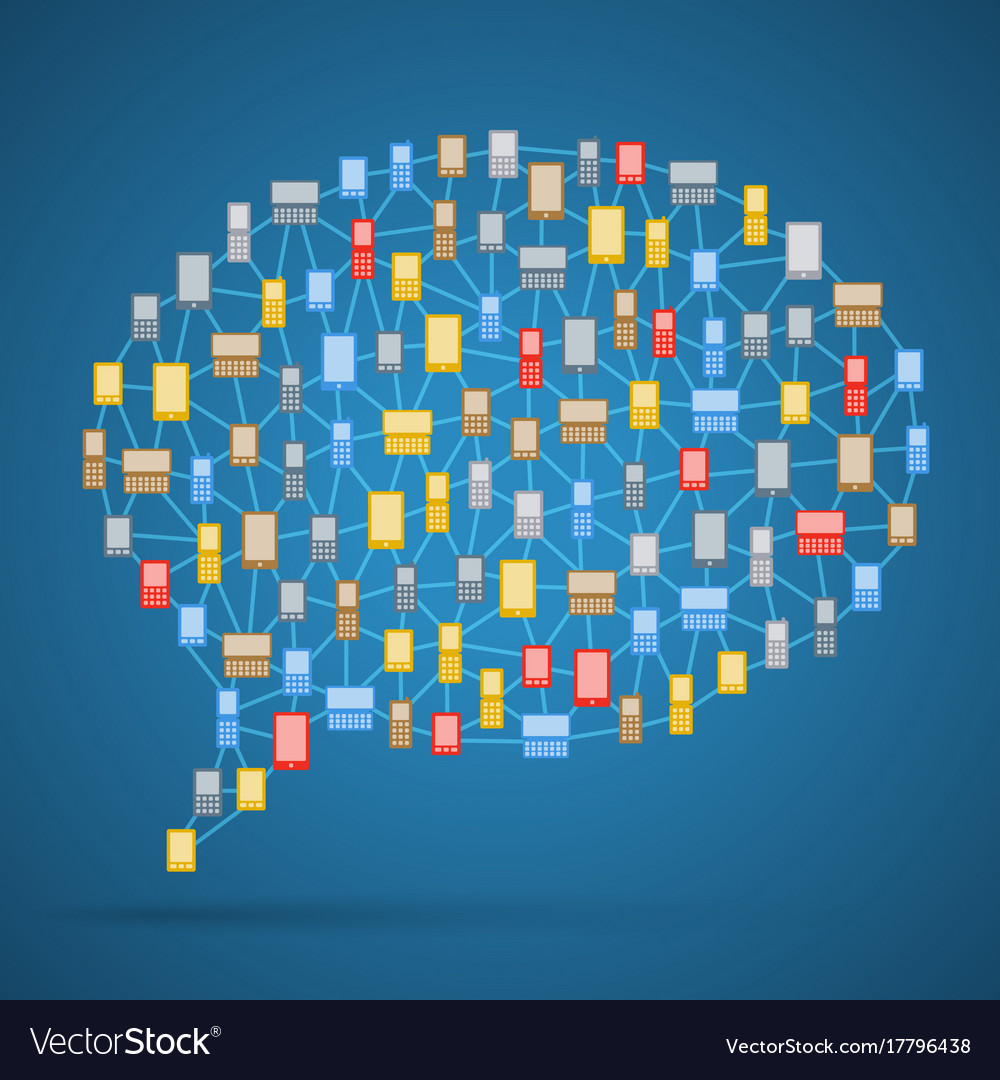 Communication bubble of phones vector image