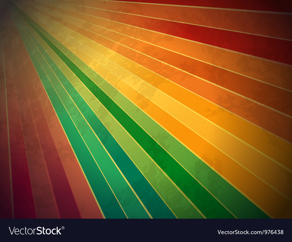 Retro rainbow starburst background vector image