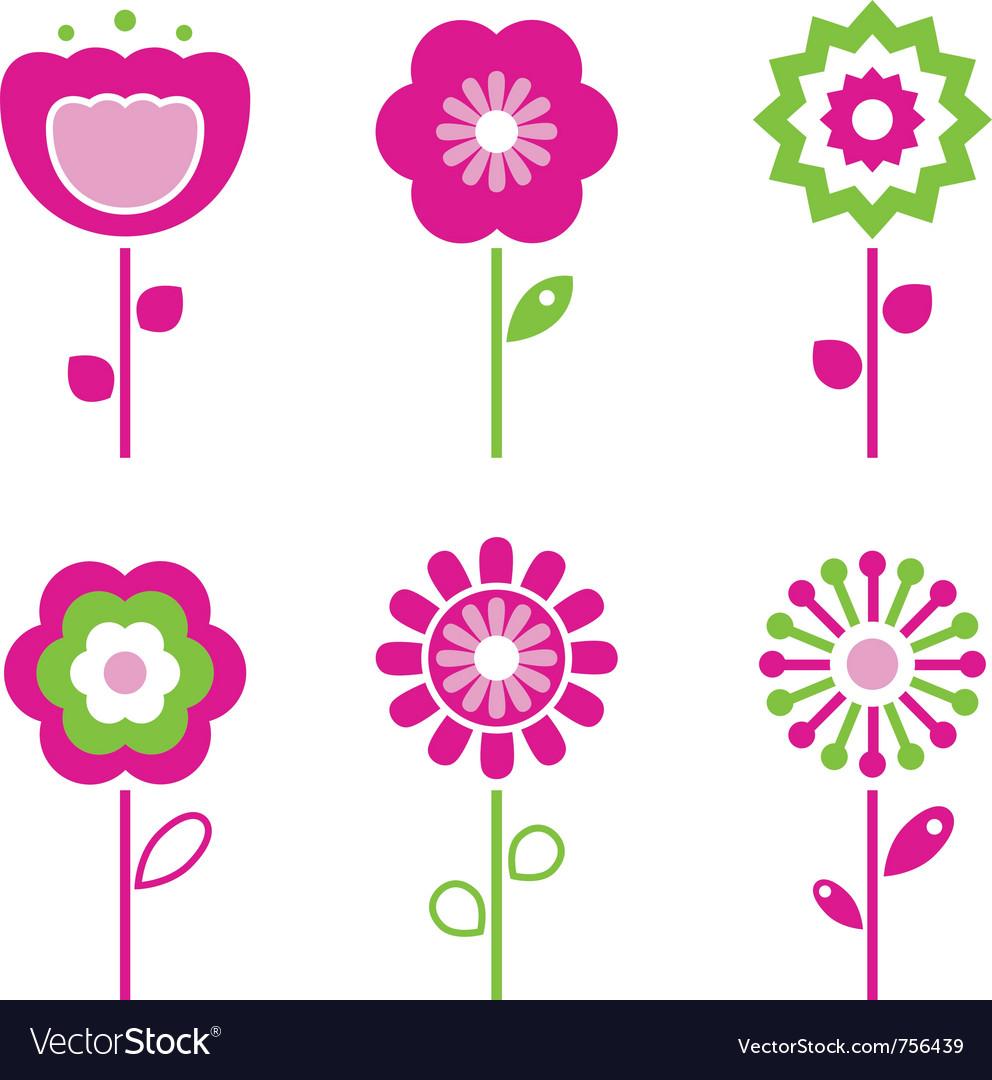 Retro flower elements vector image