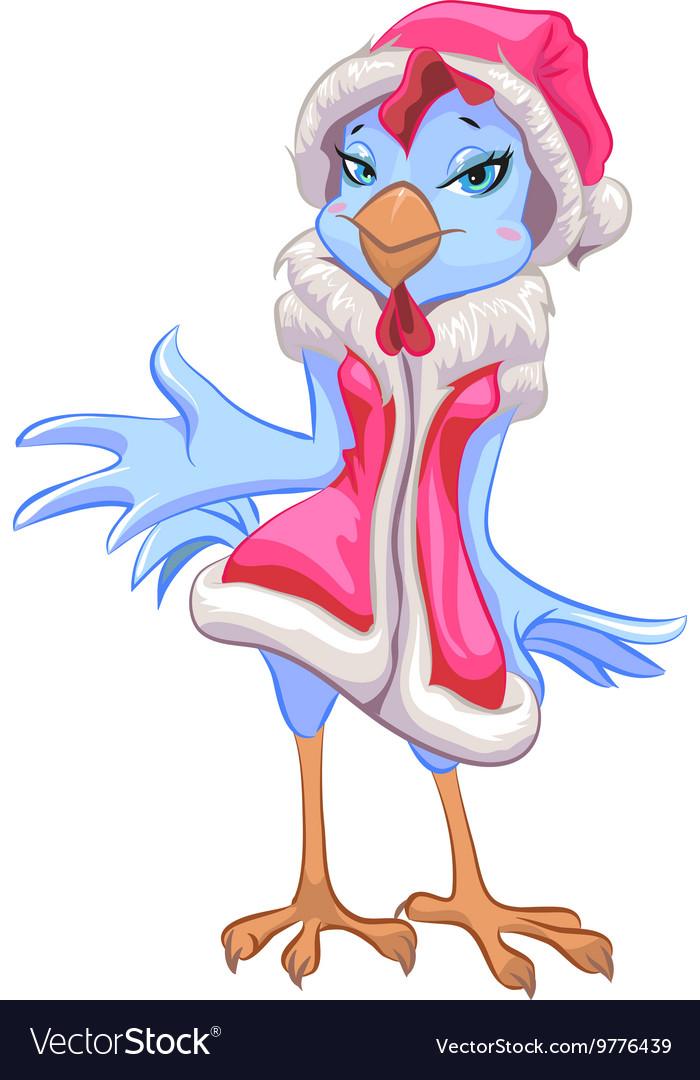 Blue Santa chicken symbol 2017 Female rooster vector image