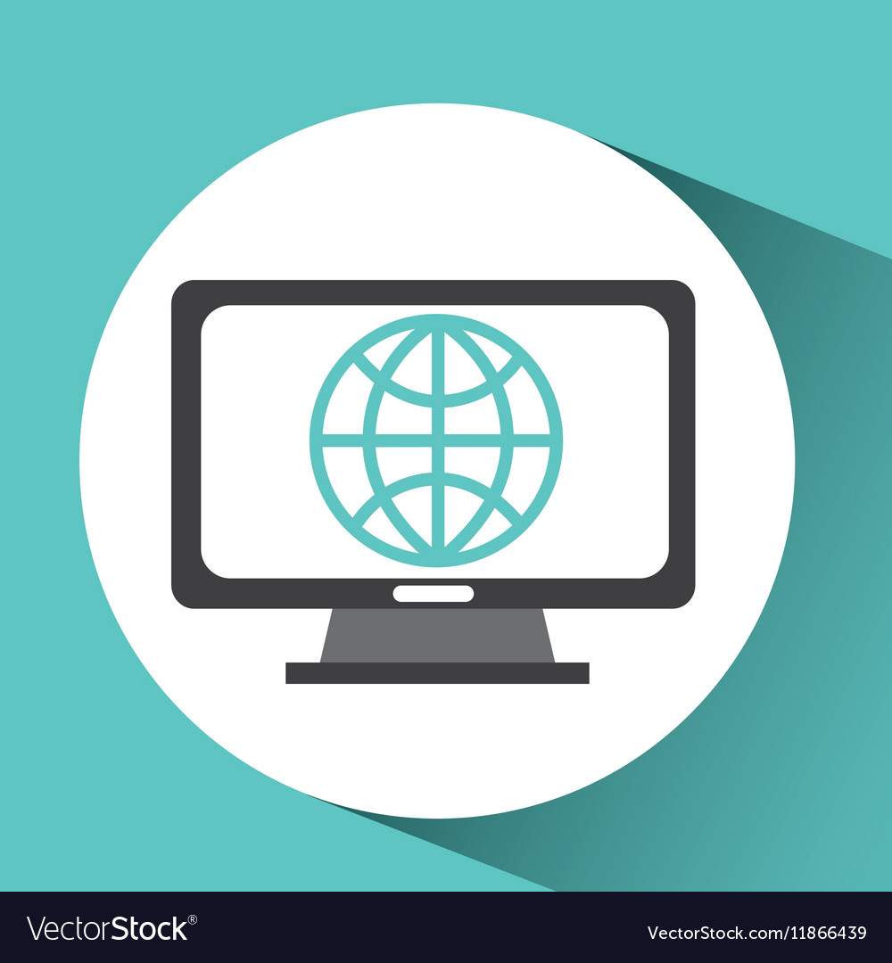 Computer device globe network icon vector image