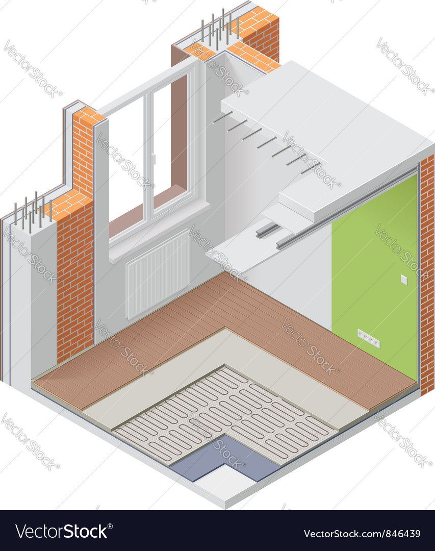Isometric apartment cutaway icon vector image