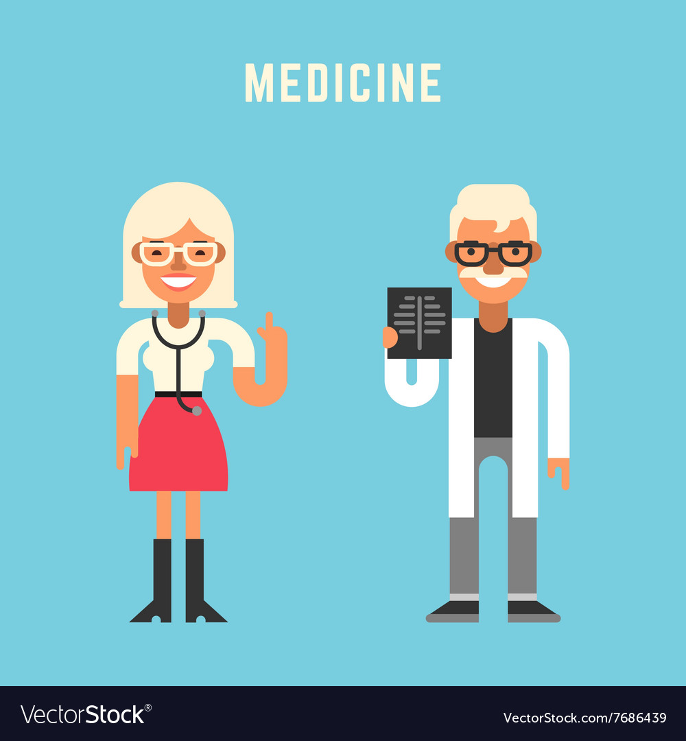 Medicine Concept Male and Female Cartoon vector image