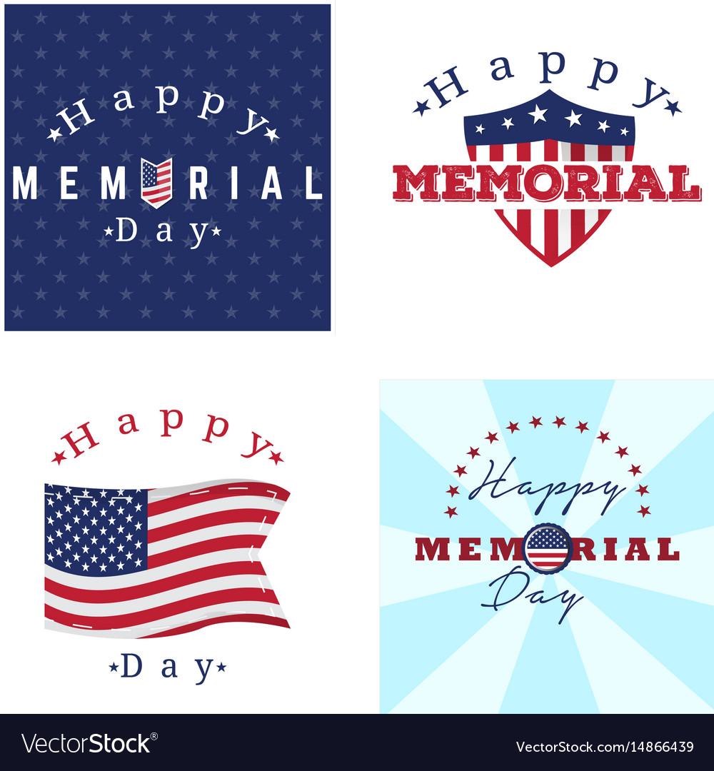 Set Memorial Day Labels On White Stock Vector 642718318 - Shutterstock