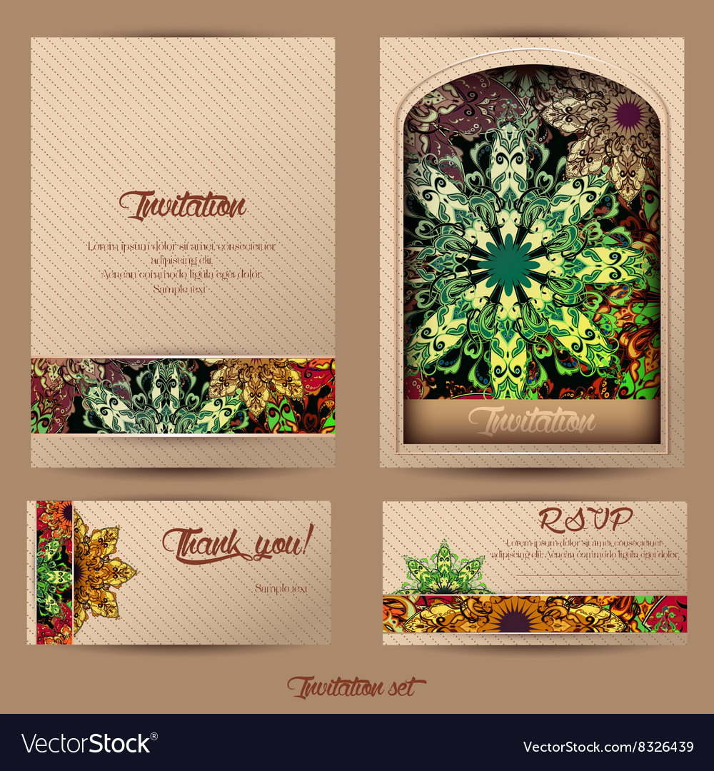 Vintage cards mandala 2 vector image