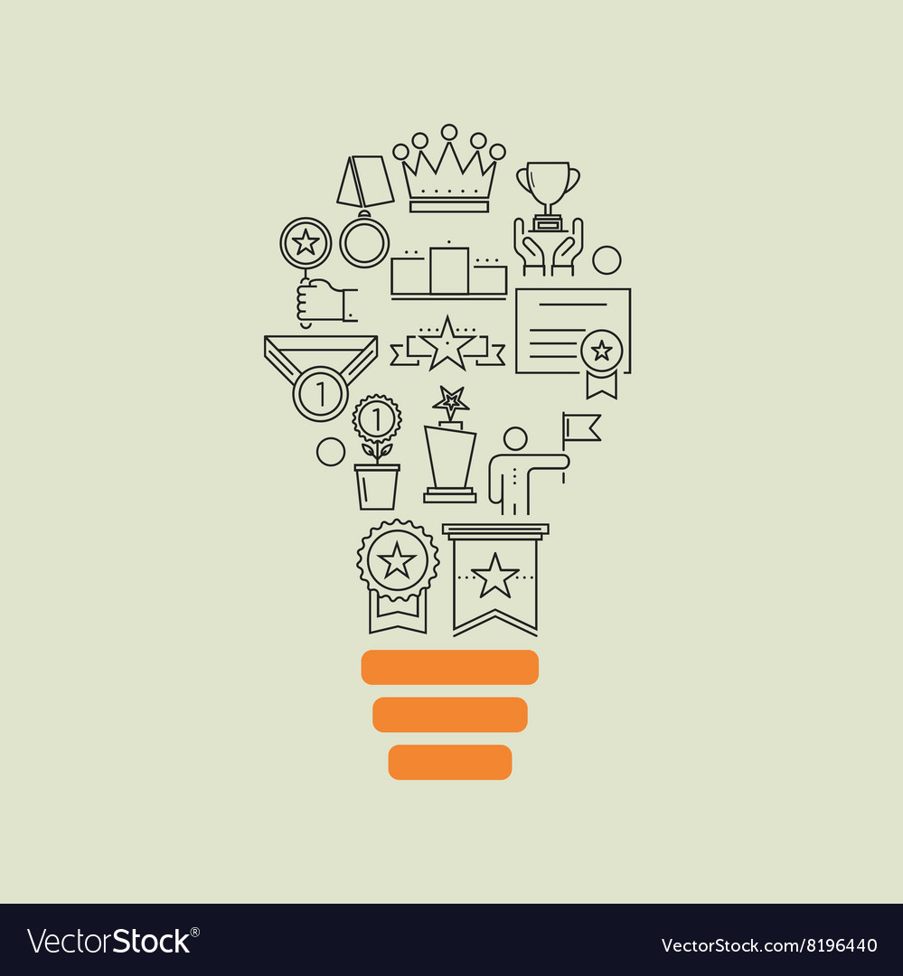 Awards and medal diploma outline idea background vector image