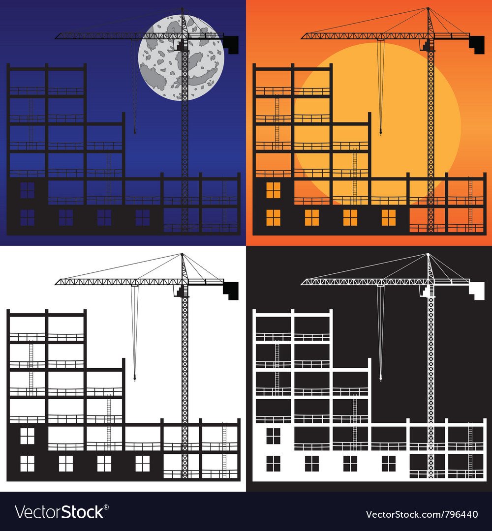 Lifting crane and building under construction vector image