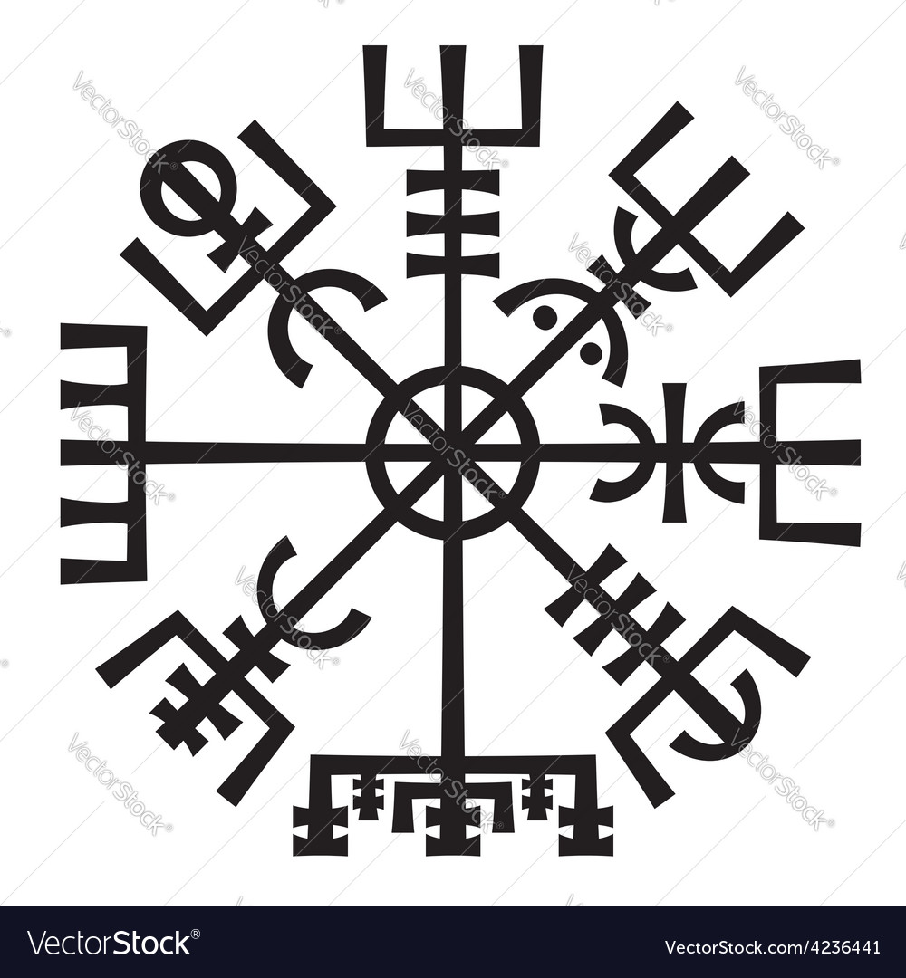 Vegvisir The Magic Compass of Vikings Runic vector image